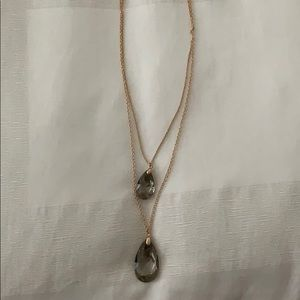 Gold and Grey stone layered necklace